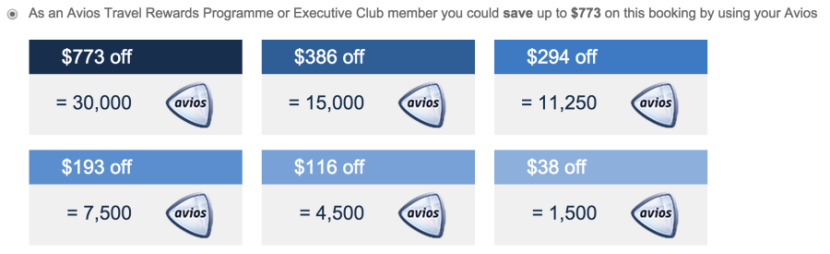 Redeem 30,000 Avios to save $773.