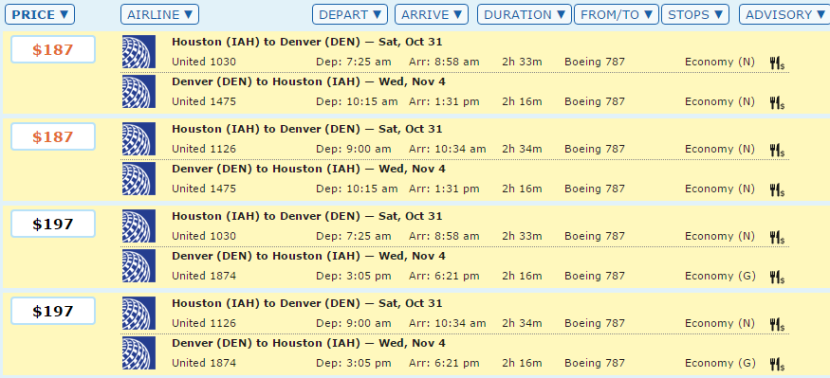 domestic dreamliners from houston to denver