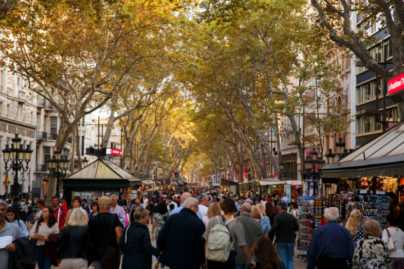 Filled with tourists, street vendors and pickpockets, you will most likely find yourself walking along La Rambla.