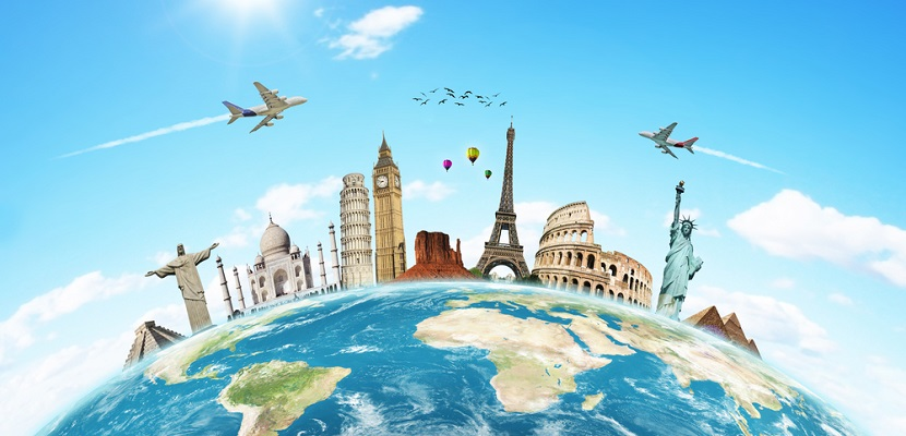 Globe landmarks plane featured shutterstock 97739021