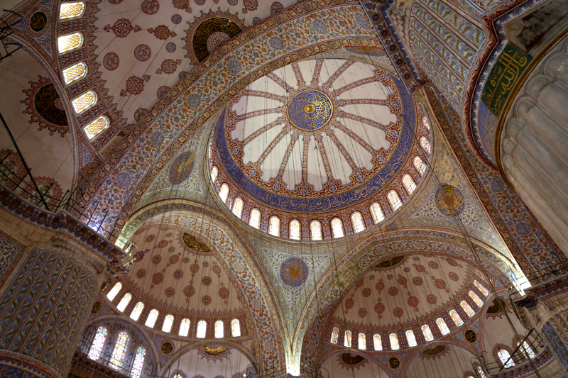 Architectural details of the interior of the Blue Mosque