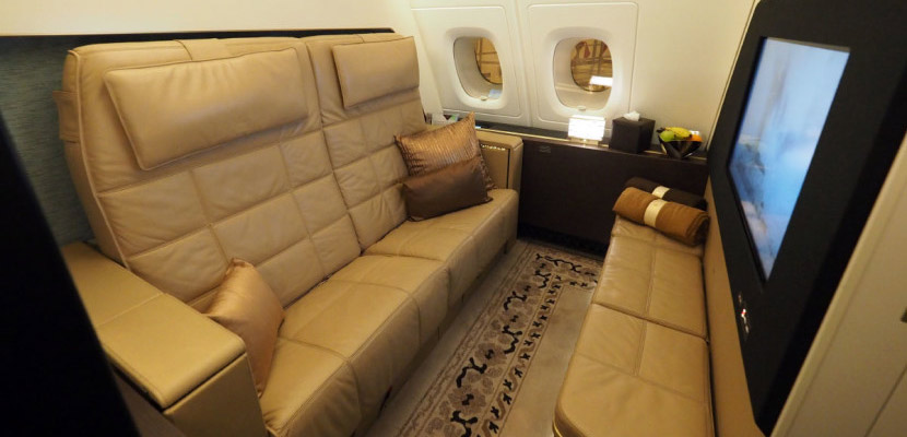 The living room of the A380's Residence looks similar to The Apartment.