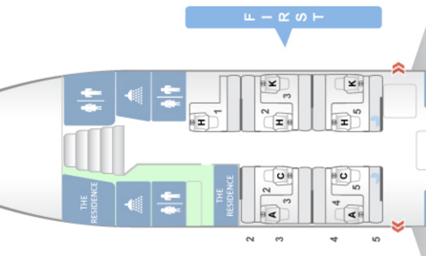The layout of Etihad's A380. The Residence and Apartments are right next to one another.