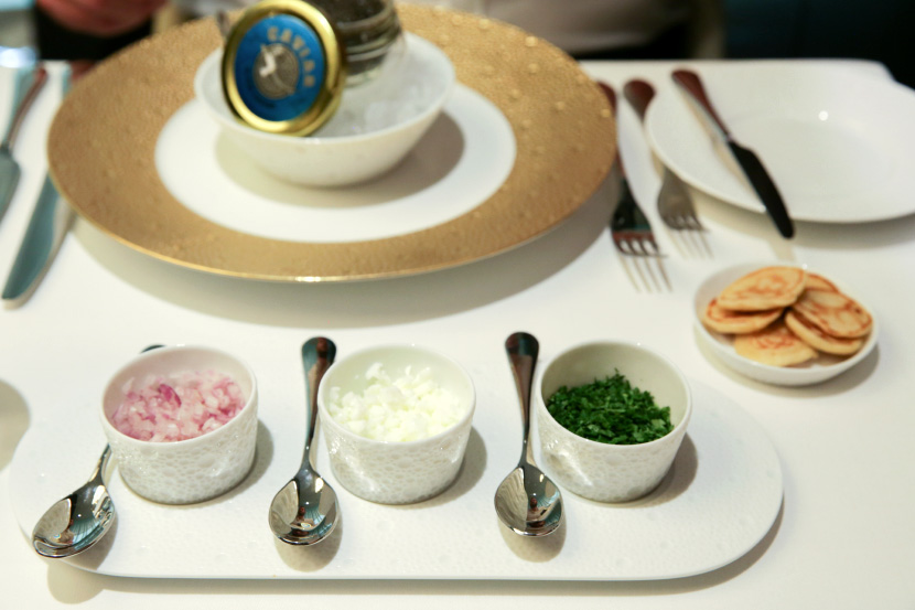 The caviar on board was a bit disappointing.