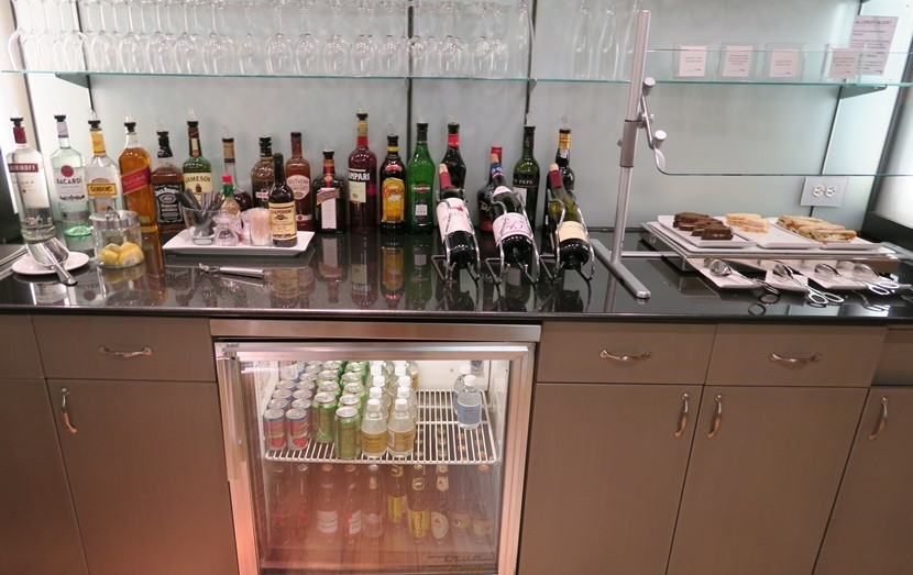 Self-serve food and drink spread.