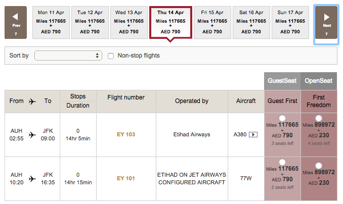 3 first-class award seats from AUH in April.