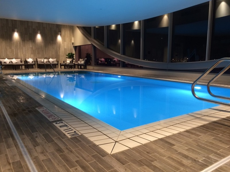 The indoor pool on the 13th floor offers spectacular views of over 100 miles.
