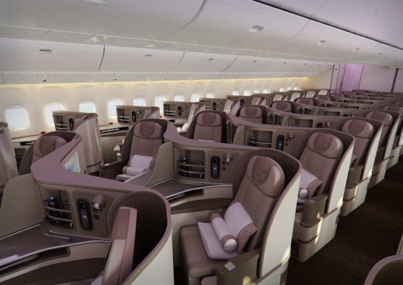 Like some of the others on this list, China Eastern's business class is in a reverse-herringbone configuration. Photo courtesy of China Eastern.