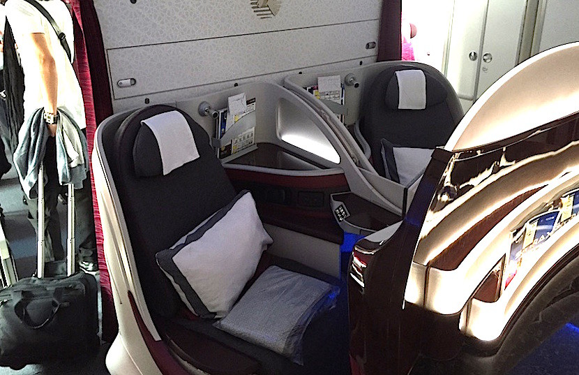 Qatar's 787s have a semi-private row 6 with just two seats.