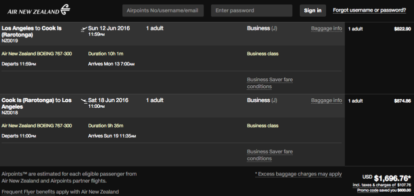 Los Angeles (LAX) to Cook Islands (RAR) for $1,697 in business class on Air New Zealand.