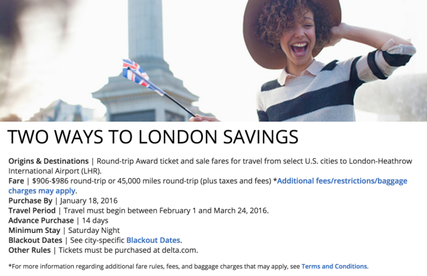 Delta's discounted awards to London.