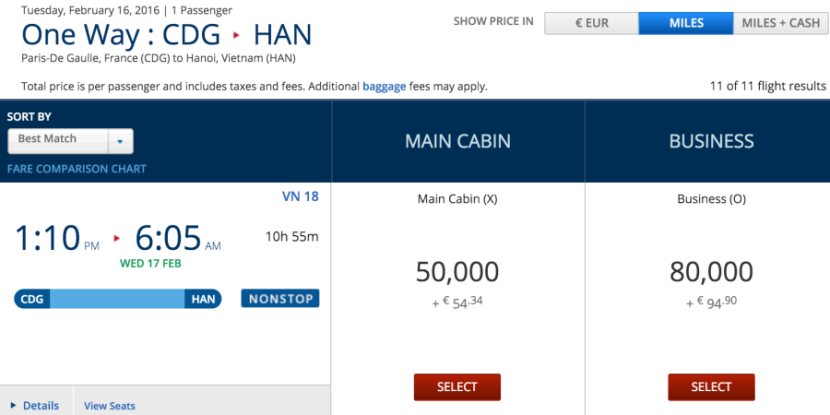 An example award booking using Delta SkyMiles.