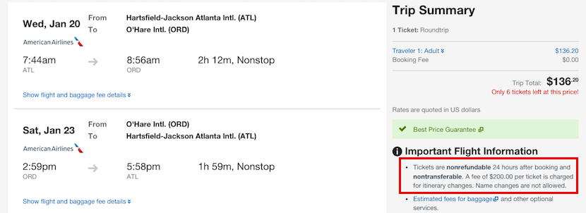 Expedia.com still gives the same 24 hour cancellation notice for booking American flights departing within seven days.