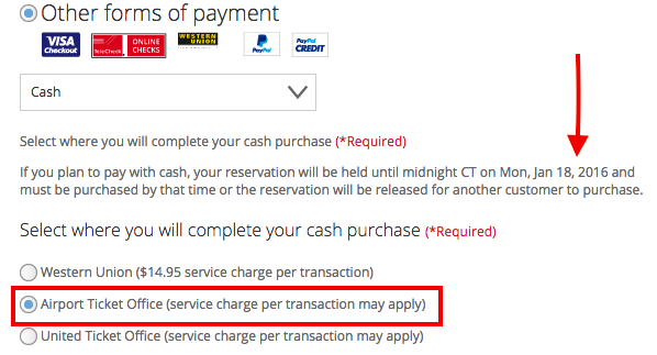 By initially selecting pay with cash, you can have up to 48 hours to make up your mind on United tickets.