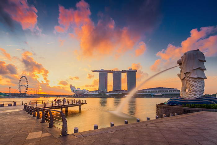 Merlion Park offers a waterfront view of the city