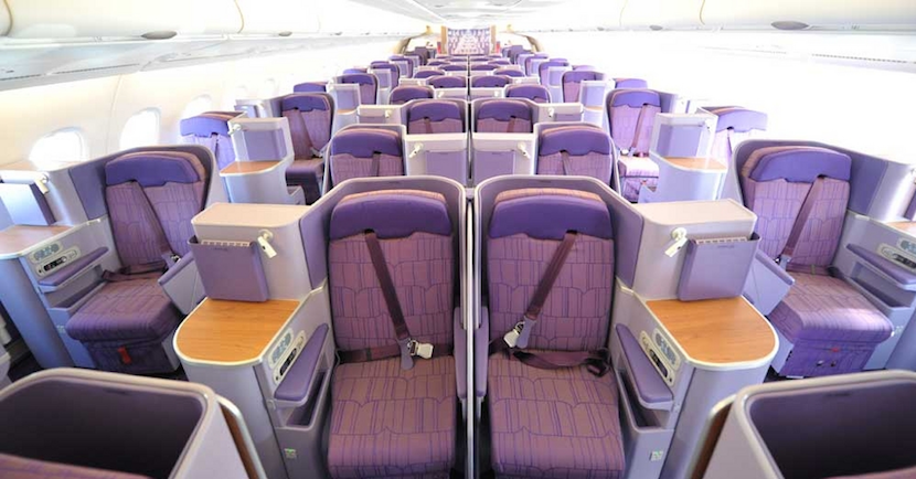 Thai's A380s have its latest business-class cabin. Photo source: Australian Business Traveller.