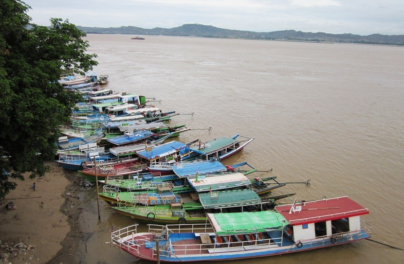 Boats docked on the Irrawaddy River in Bagan.