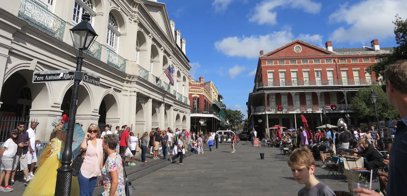 Outside of St. Louis Cathedral, Jackson Square (formerly Place d'Armes) serves as the Quarter's central promenade, lined with fortune tellers and street artists.
