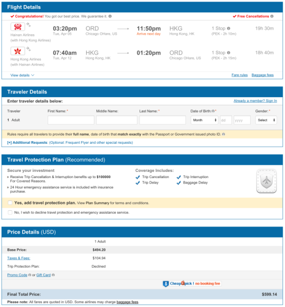 Chicago (ORD) to Hong Kong (HKG) for $599 on Hainan Airlines.