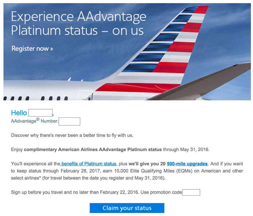 Aa Targets Aadvantage Members With Free Platinum Status