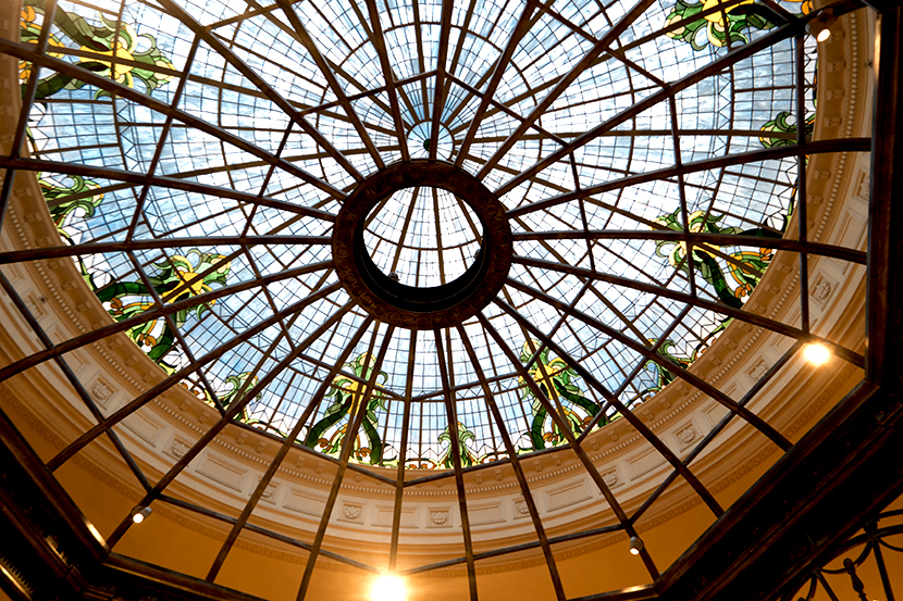 The stained-glass cupola of the Thames Foyer