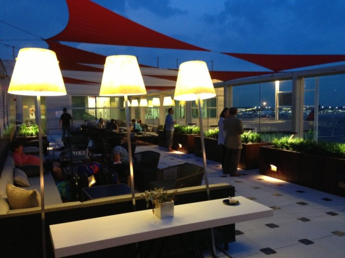 Delta's flagship SkyClub at JFK T4 is home to its famous SkyDeck overlooking the tarmac.
