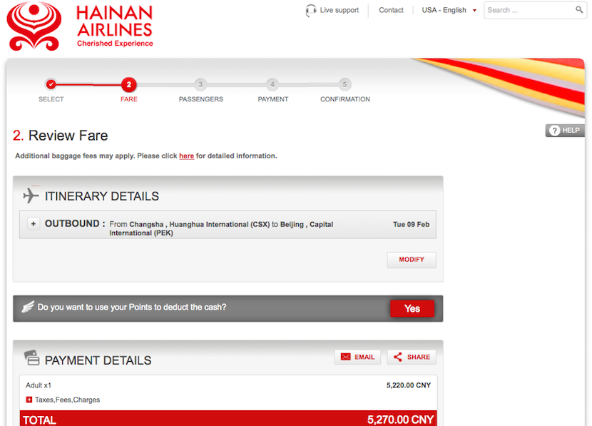 Hainan was going to charge over $500 more for the same ticket!