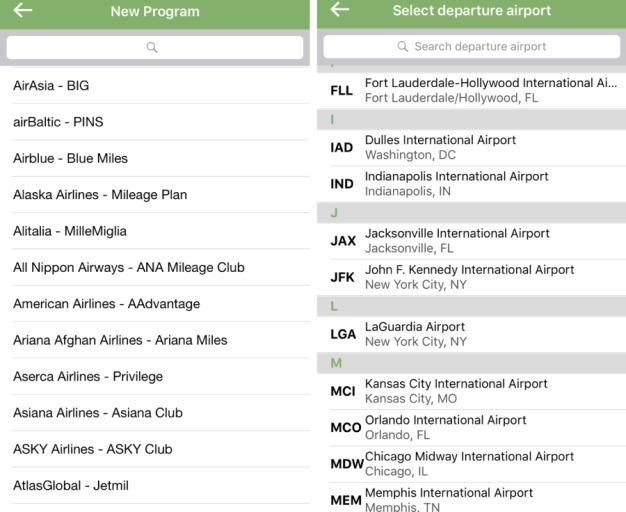 There are many frequent flyer programs to choose from and the app is well organized and easy to use.