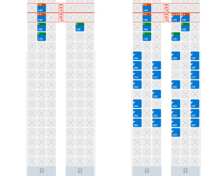 The seat maps for general and elite members for the same flight two days before departure.