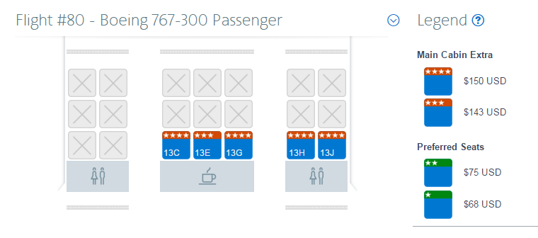 Cost for a general traveler to choose Main Cabin Extra seats for a flight from Dallas (DFW) to London (LHR).