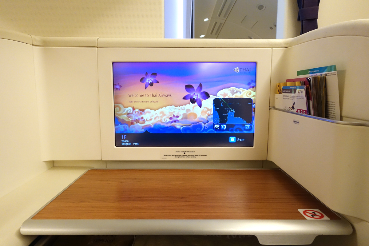 First-class seats have a 23-inch monitor.