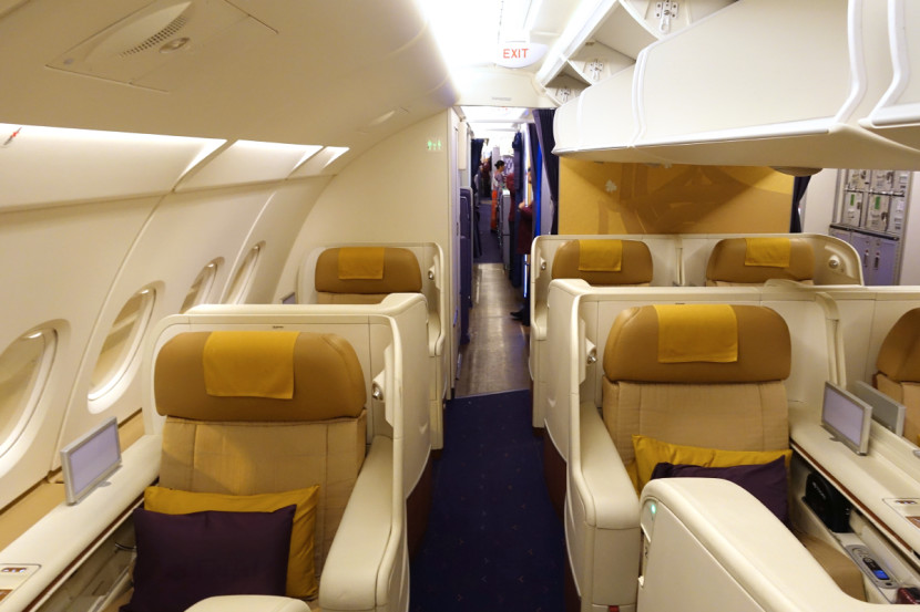 Thai's first-class cabin is arranged in a 1-2-1 configuration.