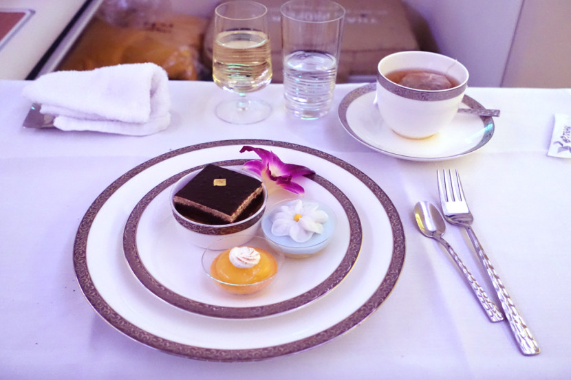 The dessert course consisted of opera cake, a fruit tart and a coconut custard.