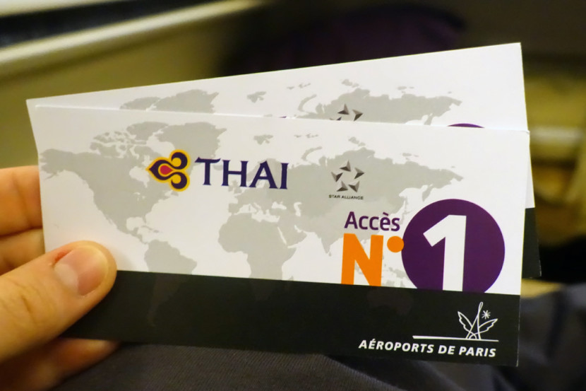 First and business-class passengers receive express immigration passes.