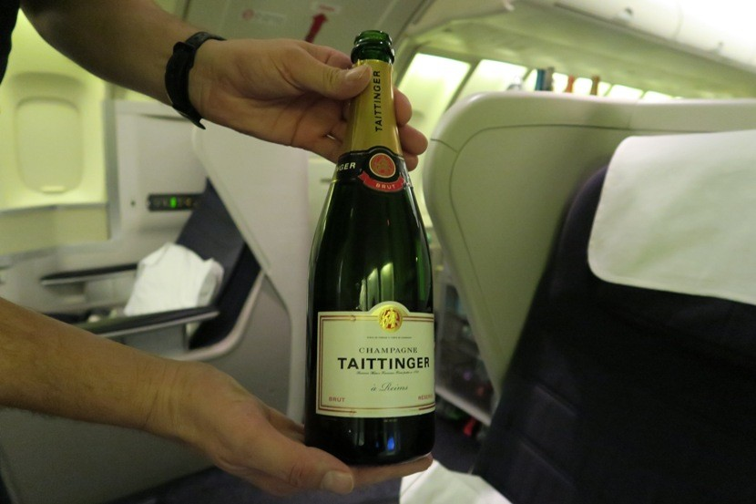 The flight attendants were happy to help you choose between the availablechampagne options.