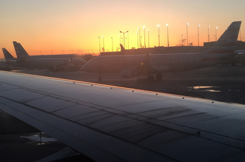 A beautiful sunset when we got to Chicago.
