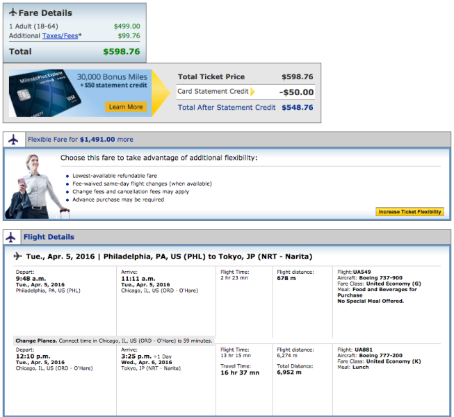 Philadelphia (PHL) to Tokyo (NRT) for $599 on United.