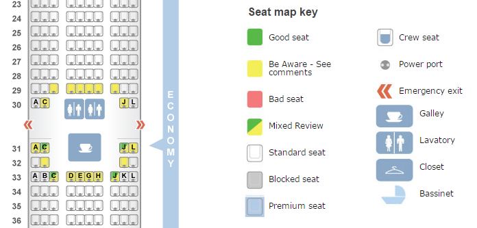 Make sure to use SeatGuru to avoid bad seats on your flight.