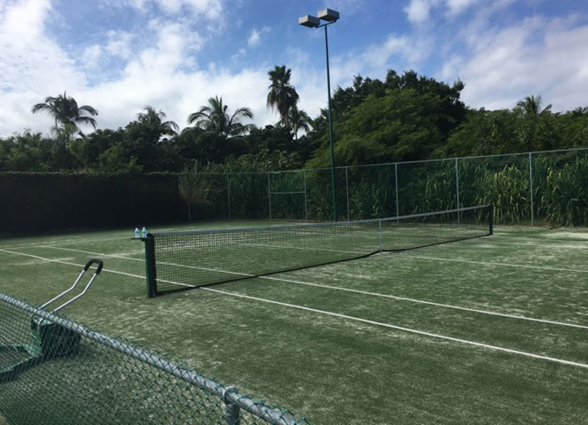 The St. Regis has both grass and hard tennis courts.
