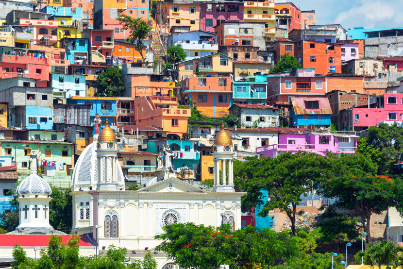 American and United consider Ecuador part of Northern South America, so it requires fewer miles.