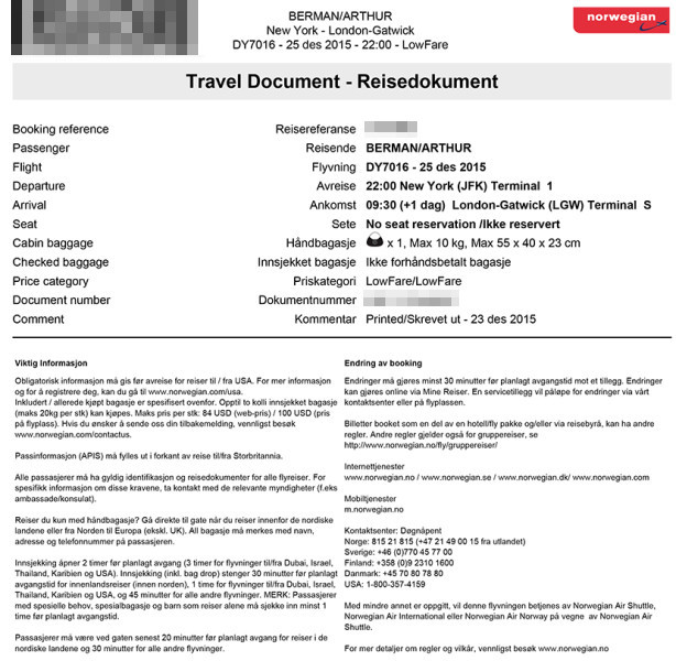 My travel document from the airline's Norwegian website.