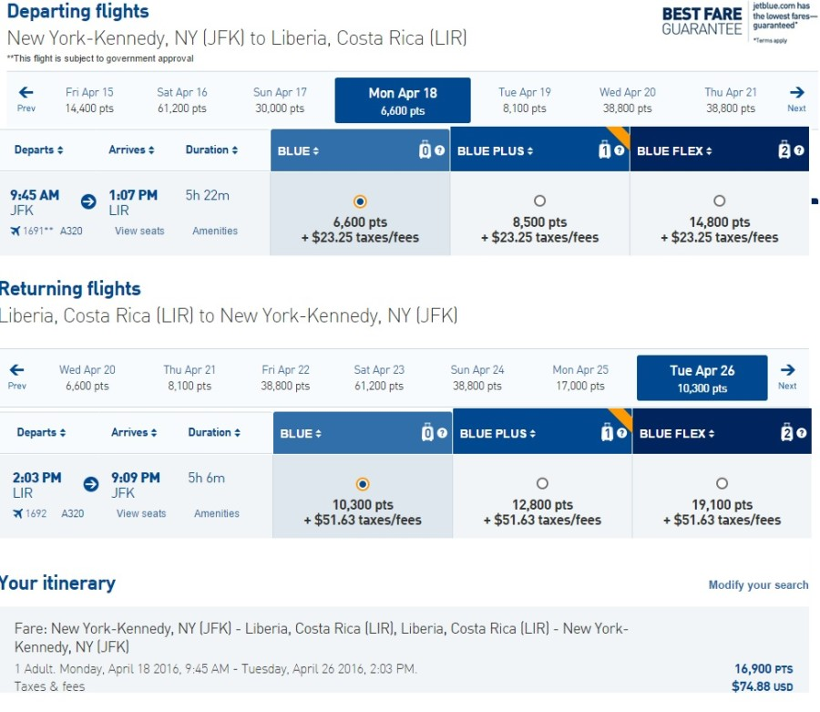 If you are flexible with your dates, 30,000 points is almost enough for two round-trip award flights to Costa Rica.