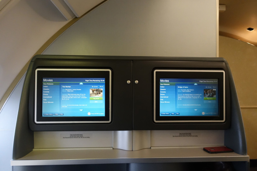 Each seat has a 15-inch touchscreen monitor.