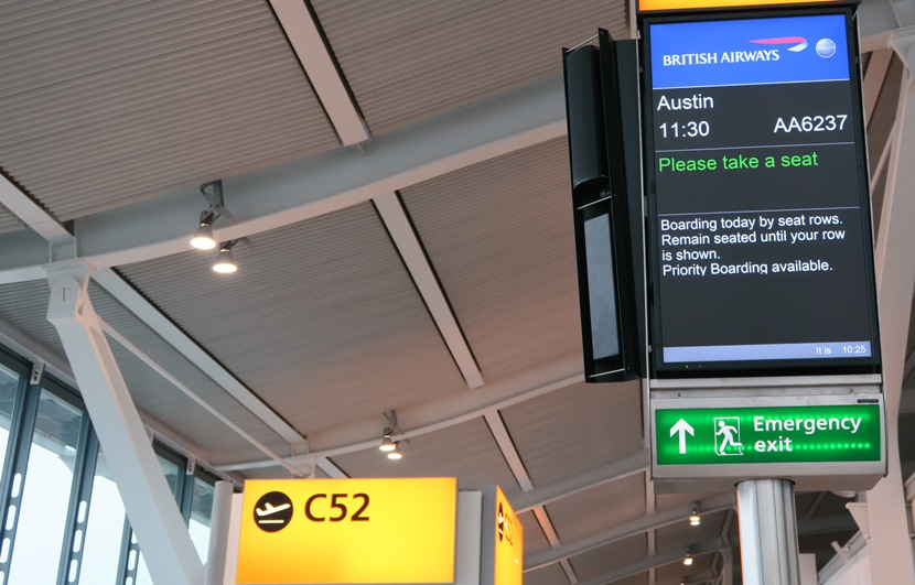 The LHR departure boards and gate signage are rather instructive.