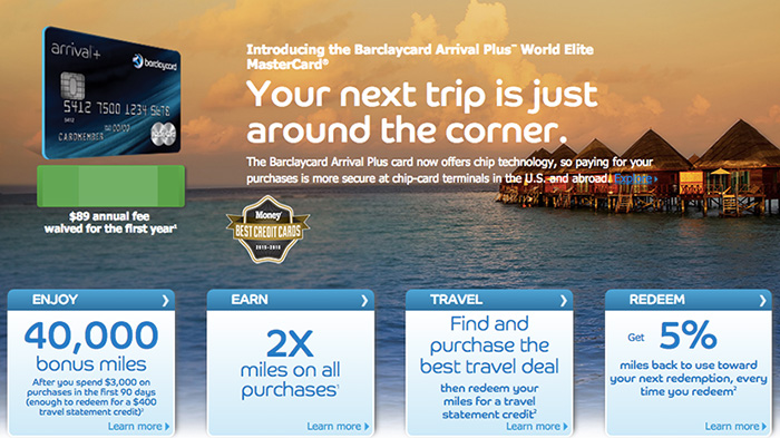 The Barclaycard Arrival Plus World Elite MasterCard offers some solid benefits, including a 5% rebate on redemptions.