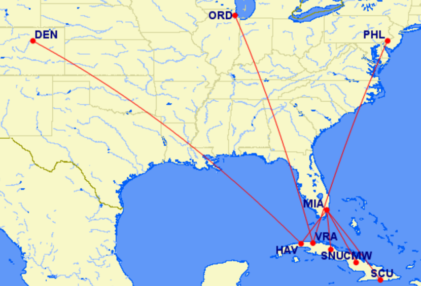 Frontier's proposed Cuba routes.