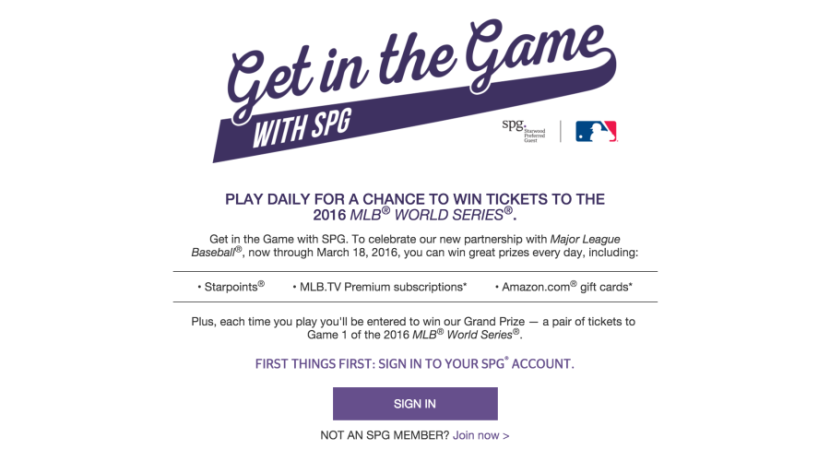 """SPG's new """"Get in the Game"""" promotion."""