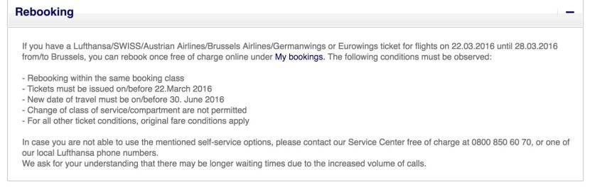 Lufthansa's rebooking policy for affected flights.