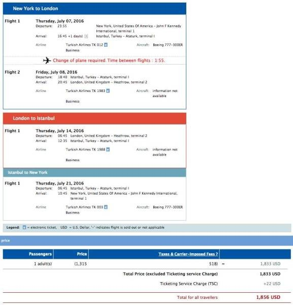 New York (JFK) to London (LHR) and Istanbul (IST) for $1,856 in Turkish business class.
