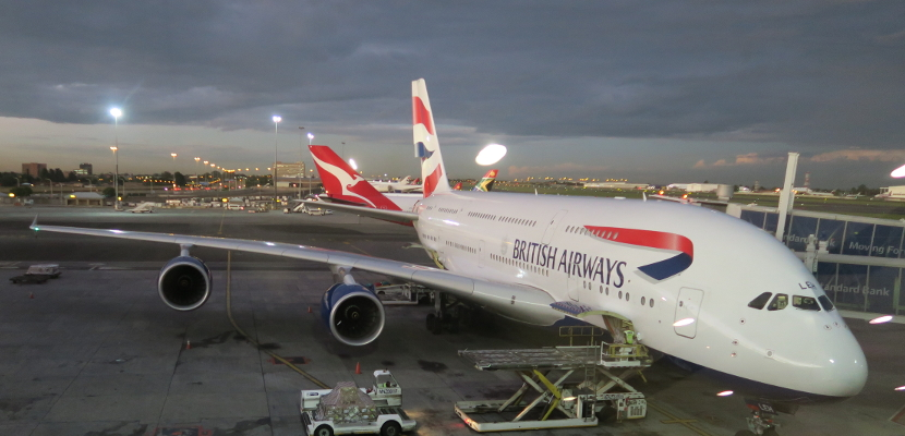 British Airways A380 at JNB